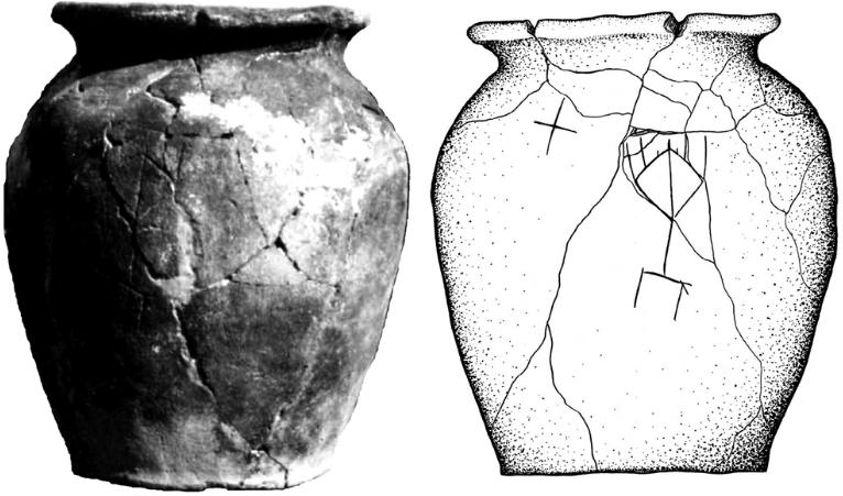 Khazar-era pot from Mariupol with menorah and cross symbols